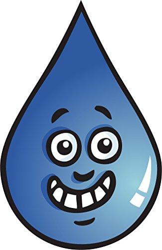 Divine Designs Silly Simple Water Droplet Cartoon Emoji Vinyl Decal Sticker (4' Tall)