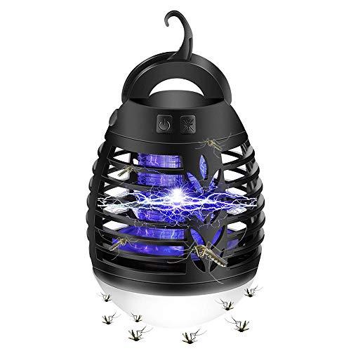 mixigoo Insektenvernichter, Elektrischer UV Mückenlampe 2-In-1 IP66 Wasserdichte Mückenkiller Campinglampe USB Wiederaufladbar Tragbare Insektenlampe LED Laterne für Innen-und Außeneinsatz