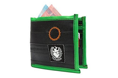 VEGANE Brieftasche, VEGETARISCHE GELDBÖRSE - Bifold Zip Brieftasche für Männer Von Upcycled Fahrrad Innenrohr Von Felvarrom (Green/GRÜN)