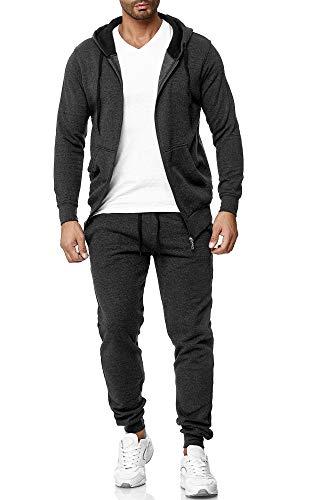 Baxboy Herren Uni Colour Jogging Anzug Trainingsanzug Sportanzug Fitness Sporthose Hose Hoodie H-500, Farbe:501_Anthrazit, Größe:L