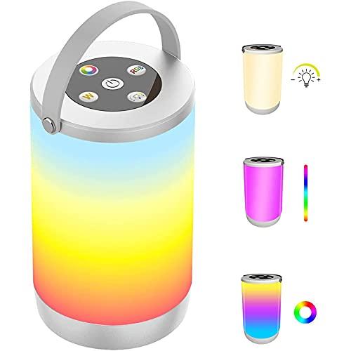 Puhui recargable por USB, portátil, lámpara de mesa RGB, lámpara de noche LED con regulador de intensidad de sensor táctil y función de memoria, para habitación de bebé, dormitorio, camping.