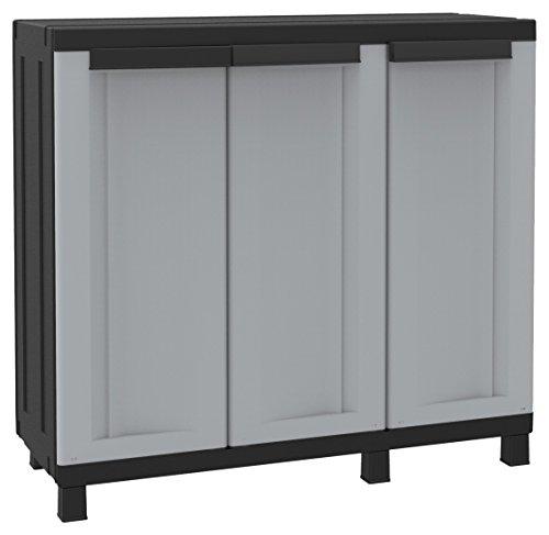 Terry, Twist Black 102b, Armario Multifunción 3 Puertas con 2 Compartimentos Separados, Gris/Negro, 102x39x91,5 cm