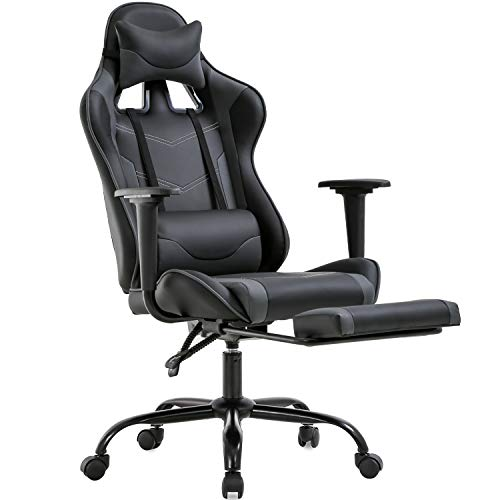 High-Back Office Chair Ergonomic PC Gaming Chair Cheap Desk Chair Executive PU Leather Rolling Swivel Computer Chair with Lumbar Support, Grey