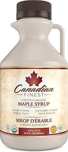 CANADIAN FINEST Maple Syrup Maple Syrup on Amazon - 100% Pure Certified Organic Maple Syrup from Family Farms in Quebec, Canada - Grade A Dark (Formerly Grade B),16.9 fl oz (500mL)