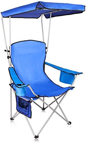 Naspaluro Camping Chair with Canopy Lightweight Sunshade Folding Chair with Cup Holder and Carry product image