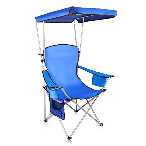 Naspaluro Heavy Duty Camping Chair with Canopy, Lightweight Sunshade Folding Chair with Cup Holder and Carry Bag, Portable Outdoor Seat for Camping, Hiking, Garden, Caravan Trips, Fishing, Beach(Blue)