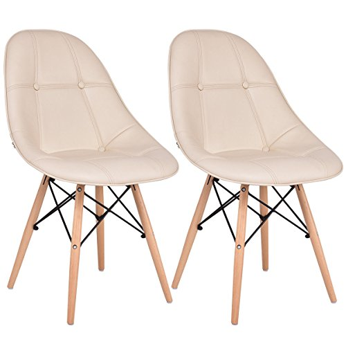 Giantex Leather Dining Chairs Set of 2 PU Upholstered Modern Style Mid-Century Tufted Nailhead Back Wood Legs Armless DSW Side Chair for Living Room Dining Room Kitchen (Beige)