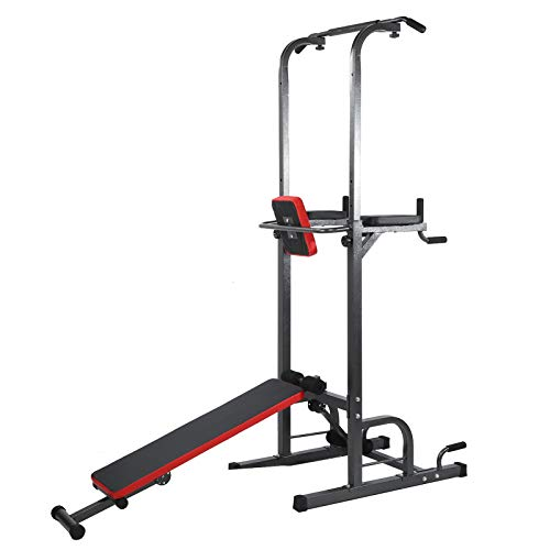 Vbest life Multifunktions-Fitness-Rack, einstellbare Power Tower-Pull-Up-Station für Familientraining Krafttraining-Dip-Stand Fitness-Bar-Workout-Dip-Station Sit-Up-Bank