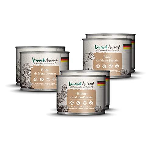 Venandi Animal Premium Nassfutter für Katzen, Probierpakett I, Huhn, Ente, RInd, 6 x 200 g, getreidefrei und naturbelassen, 1.2 kg
