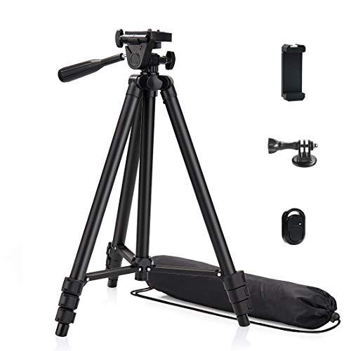 Phinistec 125cm Aluminium Handy Stativ für Smartphone, Kamera, iPhone, Gopro, Webcam, Projektor mit Handy Halterung und Bluetooth Fernauslöser und Gopro Adapter mit Tragetasche (Schwarz)
