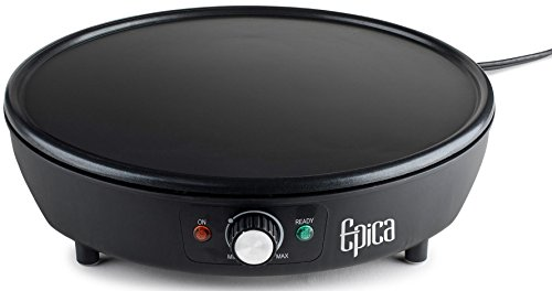 """Epica Nonstick Electric Griddle & Crepe Maker - 12"""" - Great for Pancakes, Bacon & Burgers - 3-Year Warranty"""