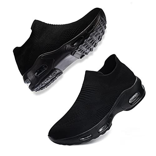 Fenlern Sicherheitsschuhe Damen Leicht S1,Arbeitsschuhe Schuhe mit Stahlkappe Sportlich Atmungsaktiv Komfortabel Schutzschuhe (Schwarz,36 EU)