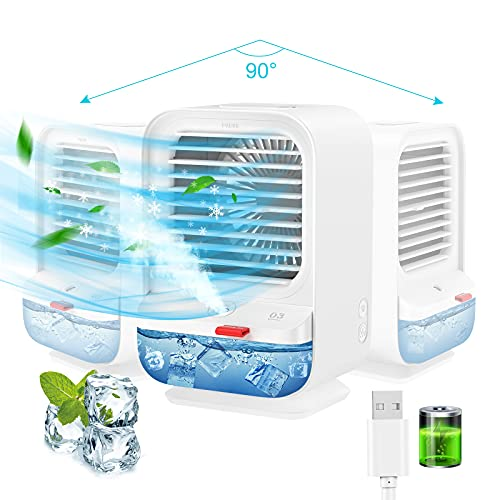 Sholov Ventilatore rotante, ventilatore portatile per aria condizionata, mini raffrescatore evaporativo con rotazione di 90 gradi per casa, viaggio e ufficio, ricarica USB