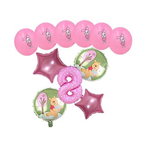 XINGYAO Globo 11 unids Dibujos Animados Winnie The Pooh Aluminio Globos Set Fiesta de cumpleaños Decoración de Boda Suministros Baby Shower Kid Juguetes decoración (Color : Red-8)