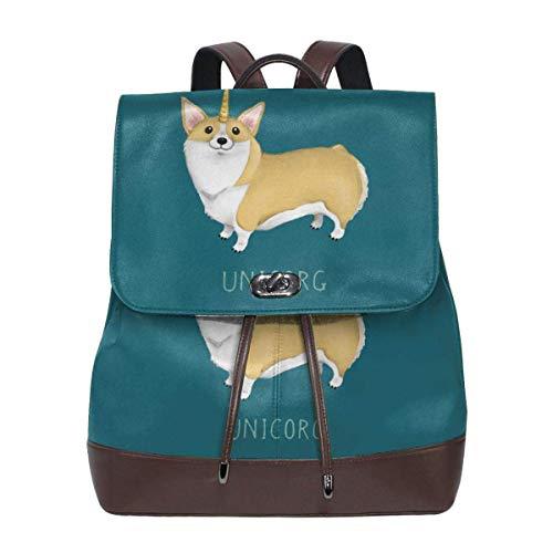 Asa Dutt528251 Cute Unicorn Corgi Mochila de cuero para mujer Travel Casual Elegante bolso de hombro con cordón