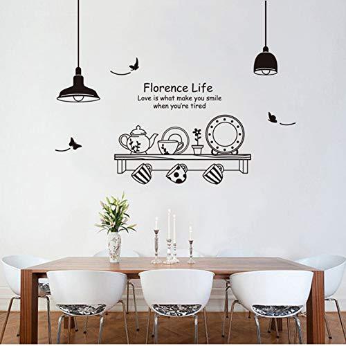 OLDTIEA Etiqueta de la Pared DecoracionEtiqueta de la Pared de la Taza de la Tetera de la lámpara de Europa para la decoración de la Pared del Fondo de la Sala de Estar del Restaurante de Kichen