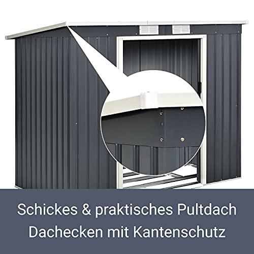Juskys Metall Gerätehaus M mit Pultdach, Schiebetür & Fundament   4m³   anthrazit   Geräteschuppen Gartenhaus Schuppen Metallgerätehaus - 6