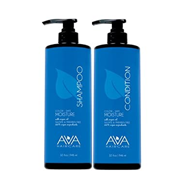 Ava Haircare – Moisture Shampoo And Conditioner – Vegan, Sulphate Free, Paraben Free, Cruelty Free (Set of 2, 33oz Each)