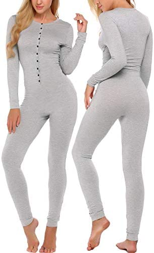 Ekouaer Bandage One Piece Pajama Romper Long Sleeve Jumpsuit Sleepwear For Women Gray X Large product image