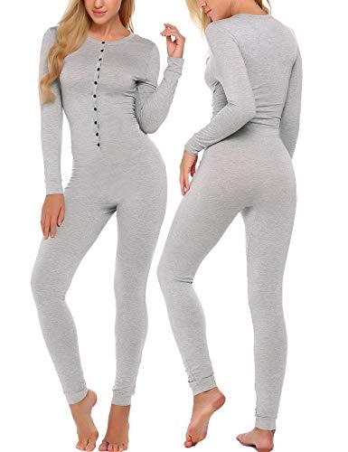 Ekouaer Bandage One Piece Pajama Romper Long Sleeve Jumpsuit Sleepwear For Women,Gray,Small