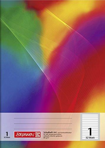 Brunnen 104438102 Schulheft A4 (32 Blatt, liniert, Lineatur 1, Klasse 1)