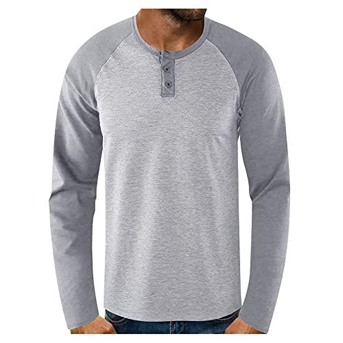 Xmiral Maglietta a Maniche Lunghe da Uomo T-Shirt Top Uomo Slim Casual O Collo Bottone Patchwork Camicetta Manica Lunga (M,1grigio)