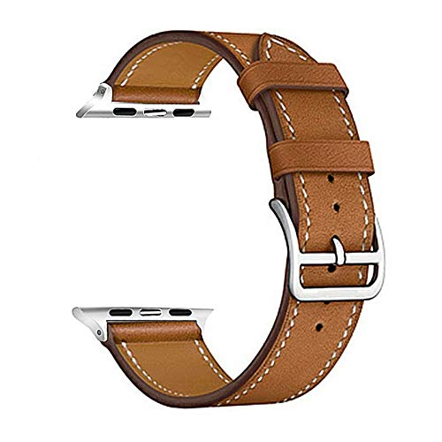 Watch Strap High Quality Leather Loop Watch Band Series5/4 3/2/1 Sport Bracelet 42 Mm 38 Mm Strap for 6 SE Band 40mm 44mm 1 (Band Color : Brown)