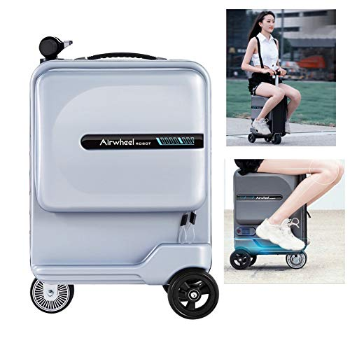 Mini 20 pulgadas inteligente Riding Maleta - monociclo eléctrico tripulado manejable equipaje Vespa, la caja almacenamiento portátil viaje Carro con extraíble banco energía batería ( Color : Silver )
