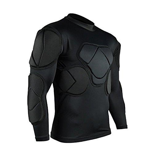 Lalander Protektorenshirt Langarm Protektoren Shirt Gepolstert Sportanzug/Schutz Bekleidung für Fußball Basketball Paintball Kampfsport Rugby