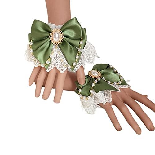 XKMY Lolita - Brazalete de encaje japonés, diseño de Lolita japonesa, doble capa, encaje floral, lazo, pulsera de cadena de perlas de imitación (color: GN)