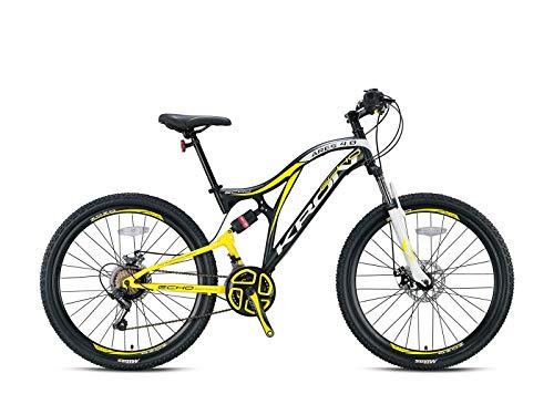 KRON ARES 4.0 Fully Mountainbike 27.5 Zoll | 21 Gang Shimano Kettenschaltung mit Scheibenbremse | 16.5 Zoll Rahmen Vollgefedert MTB Erwachsenen- und Jugendfahrrad | Schwarz Gelb