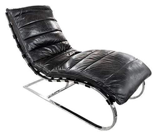 Casa Padrino Luxus Echtleder Liegesessel Schwarz/Silber 150 x 61 x H. 81 cm - Wohnzimmer Lounge Liege Relax Sessel