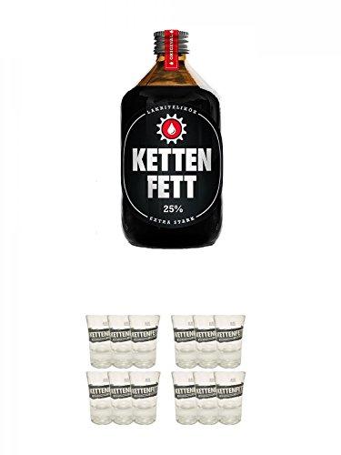 Kettenfett Lakritz Likör 0,5 Liter Kanne + Kettenfett Shot Glas 6 Stück + Kettenfett Shot Glas 6 Stück