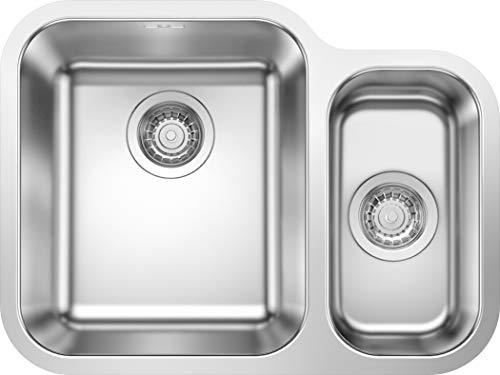 Blanco 525216 Supra 340/180-U - Lavello da cucina, finitura in acciaio INOX spazzolato, larghezza bacino: 340/180 mm