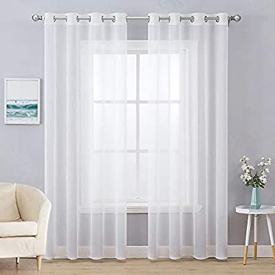MIULEE 2 Panels Solid Color White Sheer Curtains Elegant Christmas Grommet Window Voile Panels/Drapes/Treatment for Bedroom Living Room (54X108 Inch)