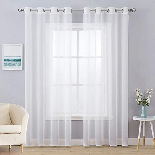 MIULEE 2 Panels Solid Color White Sheer Curtains Elegant Grommet Window Voile Panels / Drapes / Treatment for Bedroom Living Room (54 X 90 Inch)