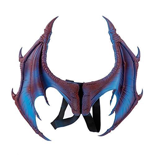 BaronHong Halloween Mardi Gras Disfraz Cosplay Demon Dragon Wings para niño Adulto (Azul, M)