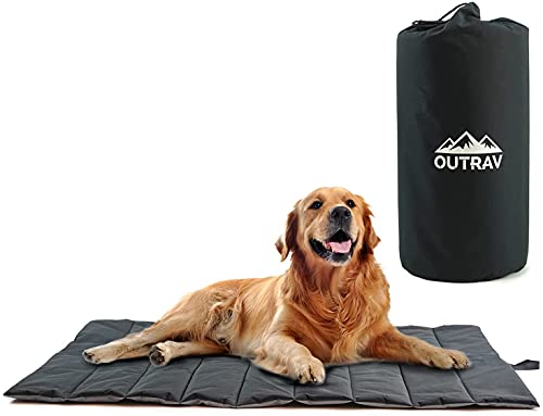 """Waterproof Indoor Outdoor Dog Mat with Carry Bag, Washable Lightweight 43"""" x 26"""" Portable Travel Pad for Pet – Durable, Plush, Thick, Heavy Duty Floor or Crate Cushion for Sleeping Inside, Outside"""