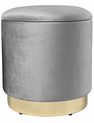 Theo&Cleo Eleganter Grau runder Sitzpuff aus Samt,Mit Stauraum,Aus Samt und Metall,37x37x41.5cm
