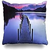 AmyNovelty Lago Panorámico Embarcadero Coniston Agua Naturaleza Cumbria Parques Calma Puesta de Sol Otoño Inglaterra Fundas de Almohada Decorativas para Viajes Largos Escapadas Cortas,45x45cm