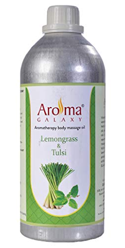 Aroma Galaxy Lemongrass & Tulasi Aromatherapy Body Massage Oil, Stress Relief for Body - Suitable for Men, Women & Kid's - 1 Litre Bottle