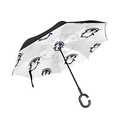 Paraguas invertido invertido hacia afuera, con auriculares sin costuras, resistente al viento, doble capa para mujeres