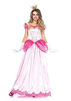 Leg Avenue 2 Piece Classic Pink Princess Full Length Ball Gown Costume Set with Gloves for Women Small