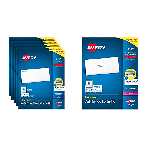 """Avery Address Labels with Sure Feed for Inkjet Printers, 0.5"""" x 1.75"""", 10,000 Labels, (5 Pack 8167) & Avery 5160 Easy Peel Address Labels , White, 1 x 2-5/8 Inch, 3,000 Count (Pack of 1)"""