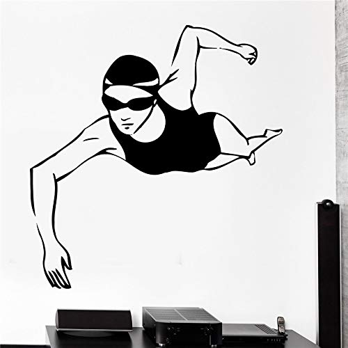 Natación mujer decoración artística decoración del hogar dibujos animados extraíbles calcomanías de vinilo para pared póster extraíble pegatina de pared 58 * 60 cm