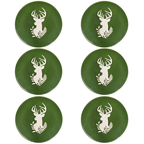 Set of 6 Green Stag Dishwasher & Microwave Safe Side Plates