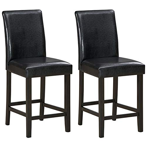 2Pieces Espresso 25-inch Backrest Barstool Height Counter Bench Wood Frame Chair PU Leather Cover Soft Padded Seat Armless Bar Stool Footrest Multi-Purpose Sitting Cafe Kitchen with Ebook