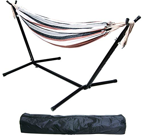 BalanceFrom Double Hammock with Space Saving Steel Stand and Portable Carrying Case,...