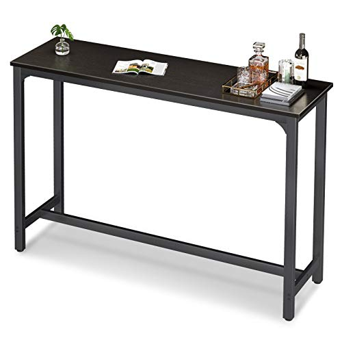 """ODK 55"""" Bar Table, Bar Height Pub Table 39'' Tall, Rectangular High Top Kitchen & Dining Tables with Sturdy Legs & Easy-to-Clean Top & 10 Min Quick Assembly, Black"""