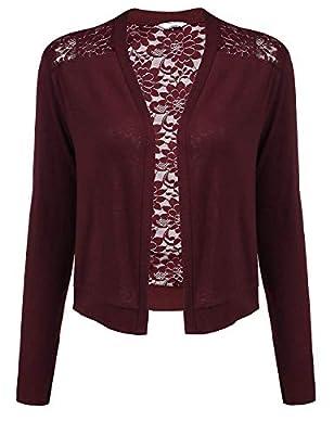 Concep Women's Long Sleeve Cotton Bolero Shrugs Crochet Lace Open Cardigan S-XXL